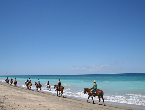 riding horseback on Frederick Douglass Beach in St. Lucie