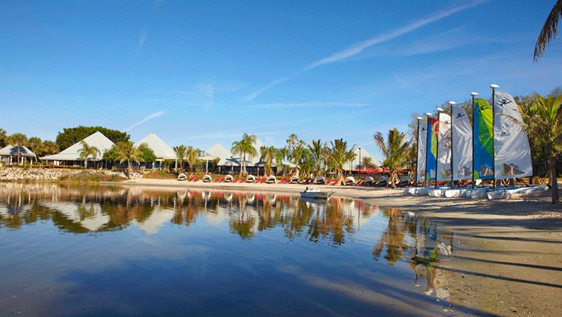 Sailboats and kayaks at Club Med Sandpiper
