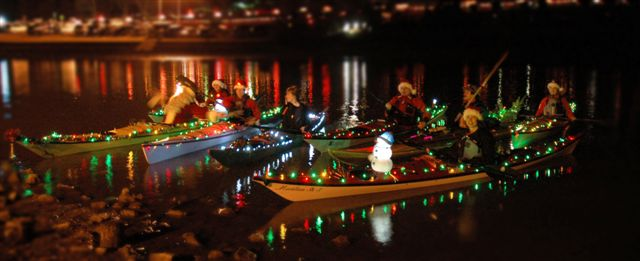 christmas lights kayak