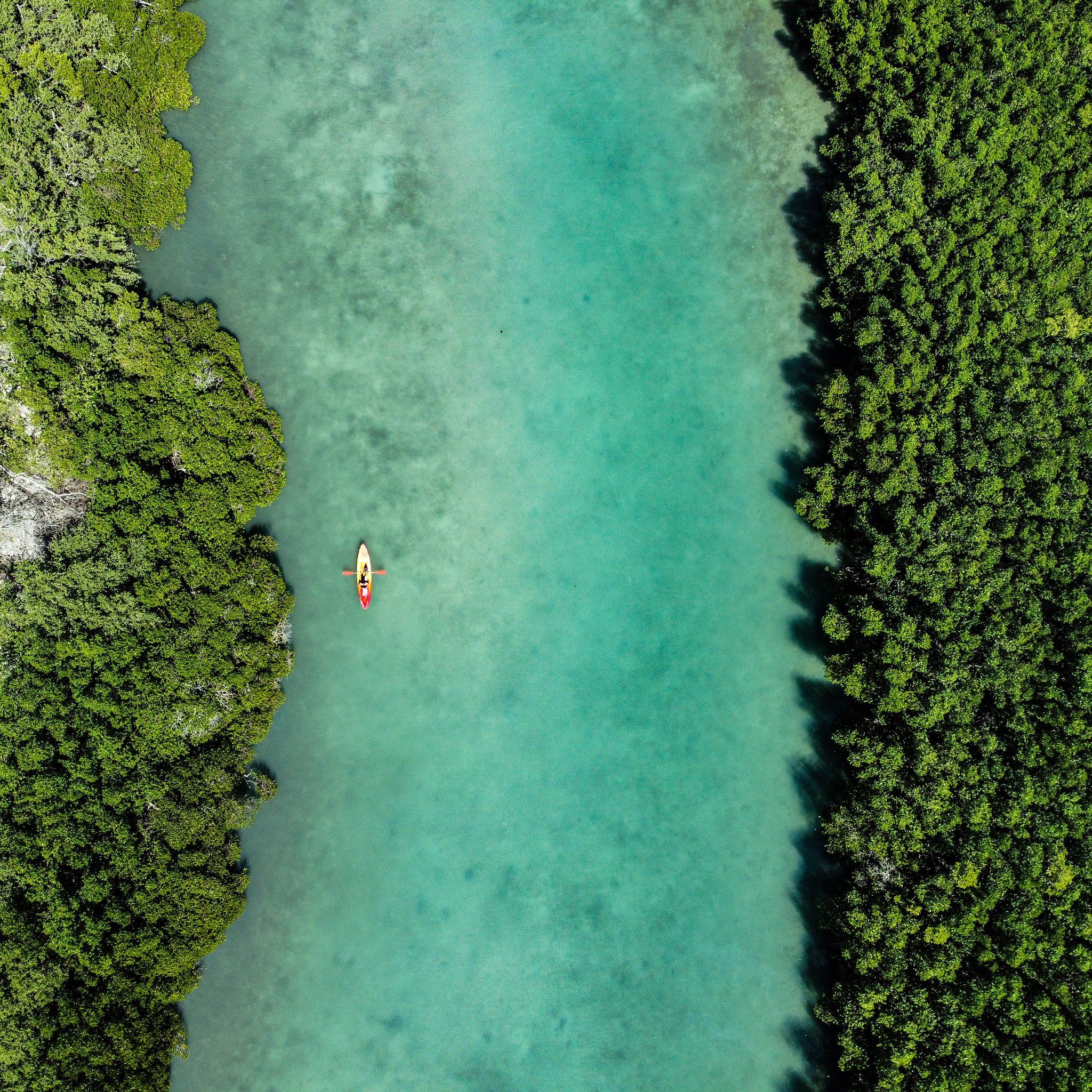 Aerial view of blue green water & kayaker
