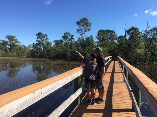 Family spotting something on bridge over water