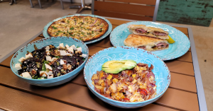 4 dishes of homemade food