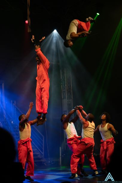 People doing stunts in the air