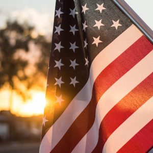 American Flag at sunet